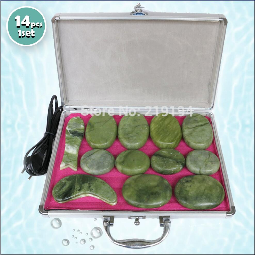 High quality 14pcs set green jade body massage hot stone face back massage plate SPA with