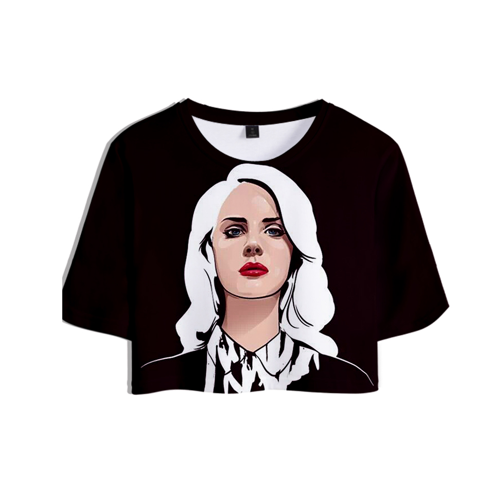 Lana Del Rey 3D Printed Women Summer Crop Tops Short Sleeve Fashion 2018 Hot Sale T-shirts Casual Girls Sexy Style Tee Shirts