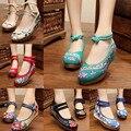 31 Estilos 2016 de Primavera Nuevos zapatos Viejos Beijing zapatos bordados moda femenina bordado floral de la Lona suave zapatos de Baile Tamaño 35-40