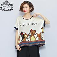 Big Size Women Summer Style T Shirt Fashion Cat Pattern Printing Casual Tee Female Short Tumblr