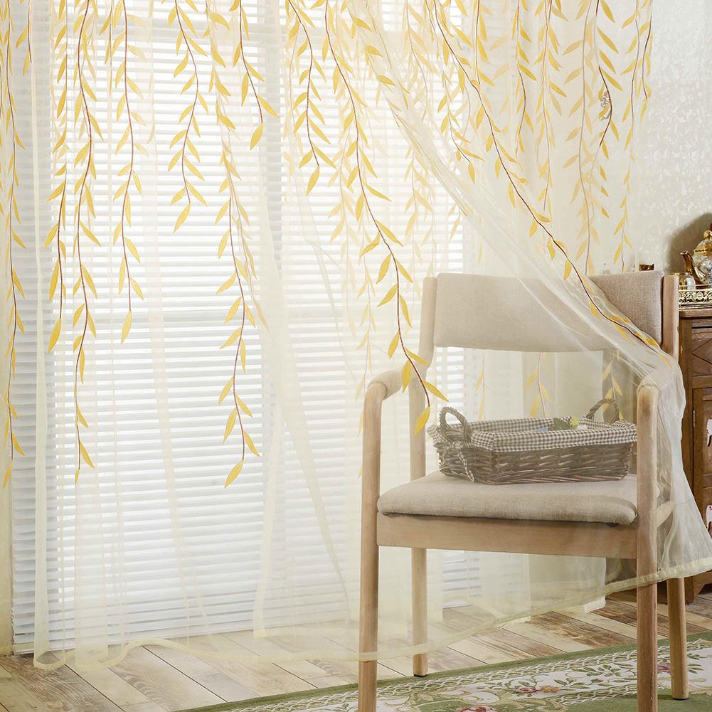 Pastoral Style <font><b>Willow</b></font> Floral Window Curtain Decorative Tulle Curtains For Balcony Living Room Sheer Curtains Tulle For Kitchen