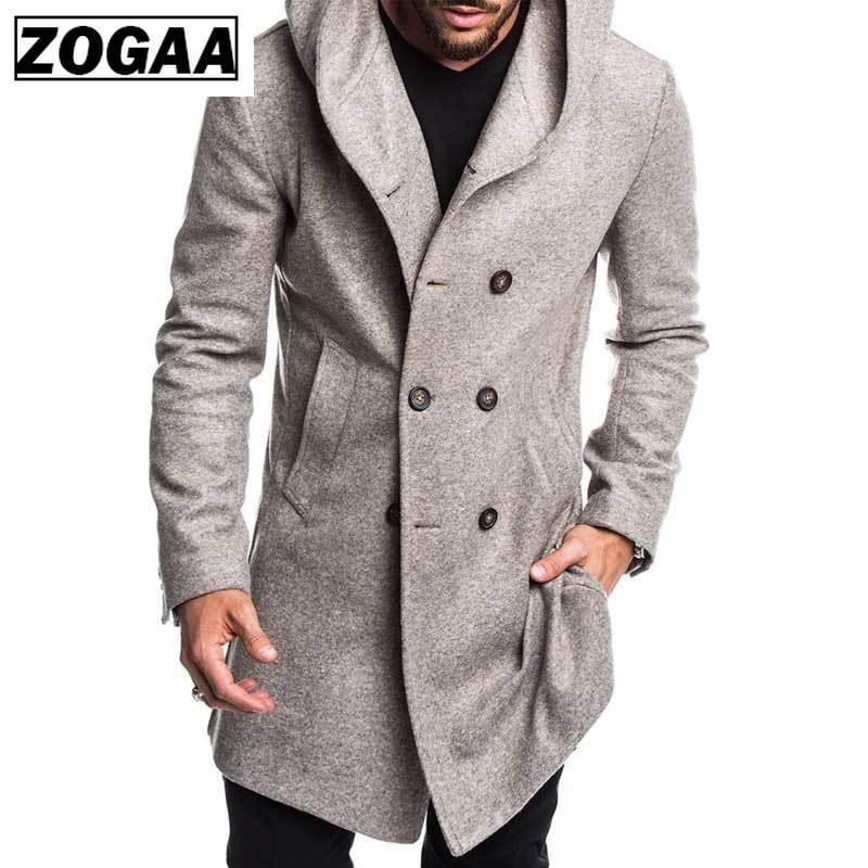 ZOGAA Jacket Spring Autumn Overcoats Casual Solid Color Woolen for Men Clothing