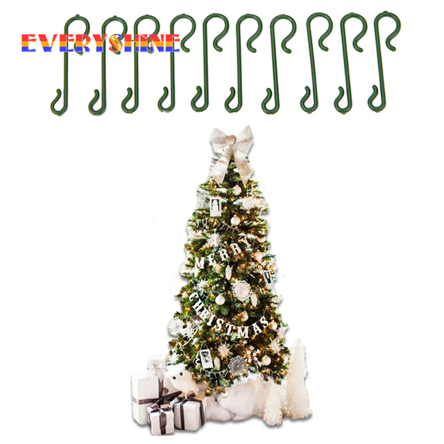 2018 merry christmas 10pcslot christmas tree green s shaped hanging hooks wire - Christmas Tree Hooks Decorative