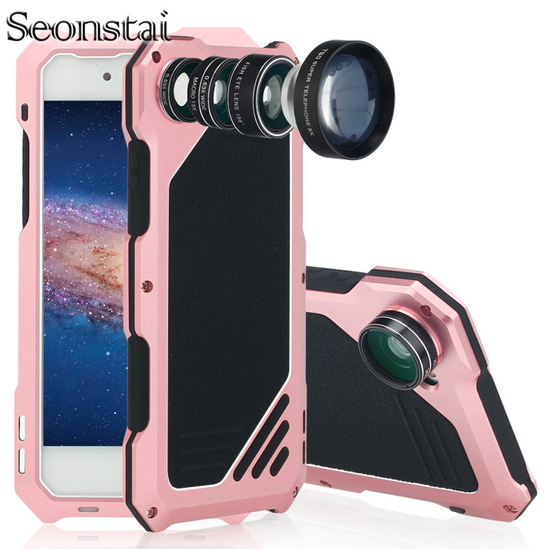For iPhone 7 7plus Waterproof Metal Back Cellphone Cover Case Anti Drop Wide Angle Macro Lens Camera Protection Phone Bag Case