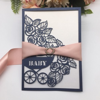 50pcs/lot Free Ribbon Baby Carriage Pattern Baby Shower Invitations Card Laser Cut Birthday Card Greeting Card For Party Decor