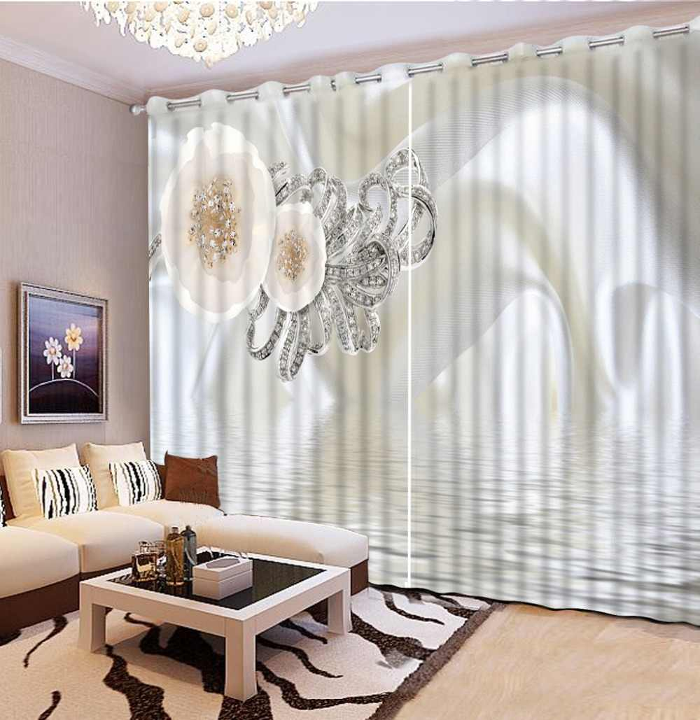 Korean Style Window Curtains Living Room Bedroom Blackout 3D Curtains White Girls Window Decoration Jewelry Curtains Thermal