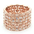 Luxury Opal cat eye stone bangles wide exaggerated cuff bracelet arm cuff fashion pink beads bracelets