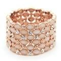 Luxury Opal cat eye stone bangles wide exaggerated cuff bracelet arm cuff fashion pink beads bracelets
