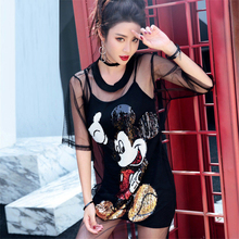 Women Two-piece Suits Mickey T Shirt Sequin Mesh Tshirt Black Clothes With Sequins 2 Piece Set Slim O Neck T-shirt