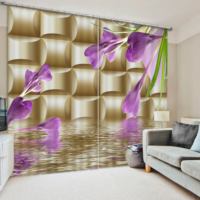 Us 8568 49 Offblackout 3d Curtains Painting Soft Morning Glory Curtains 3d Sheer Curtains For Living Room Blackout Kitchen Curtains Home Decor In