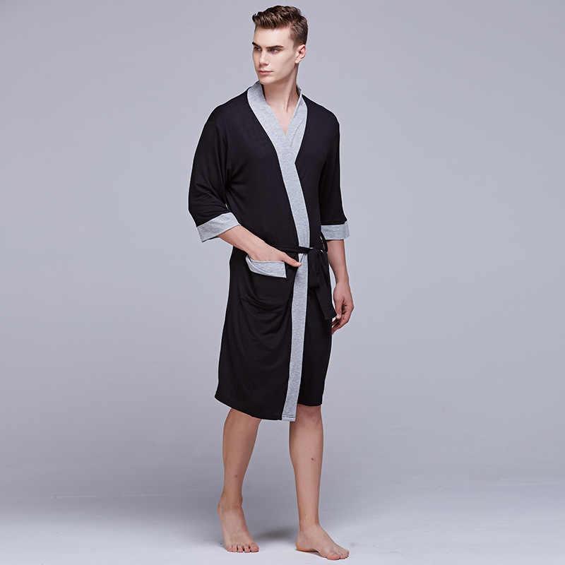 ... Sexy Male Kimono Bathrobe Soft Modal Pajamas For Men Dressing Gown  Comfortable Peignoir Homme Bath Robe ... 5e654bc82