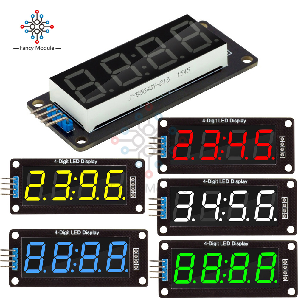 4-Digit LED 0.56 7 Segments Display Tube TM1637 Clock Double dots Module size 30x14mm 0.56inch For Arduino 5 color цена
