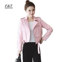 Turn down искусственной мотоцикла пиджаки кожаные воротник slim pu коротким розовый
