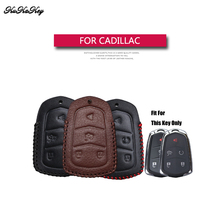 KUKAKEY Genuine Leather Remote Keyless Car Key Case Cover For Cadillac CTS ATS 28T CTS-V coupe SRX Escalade Holder Best Gift