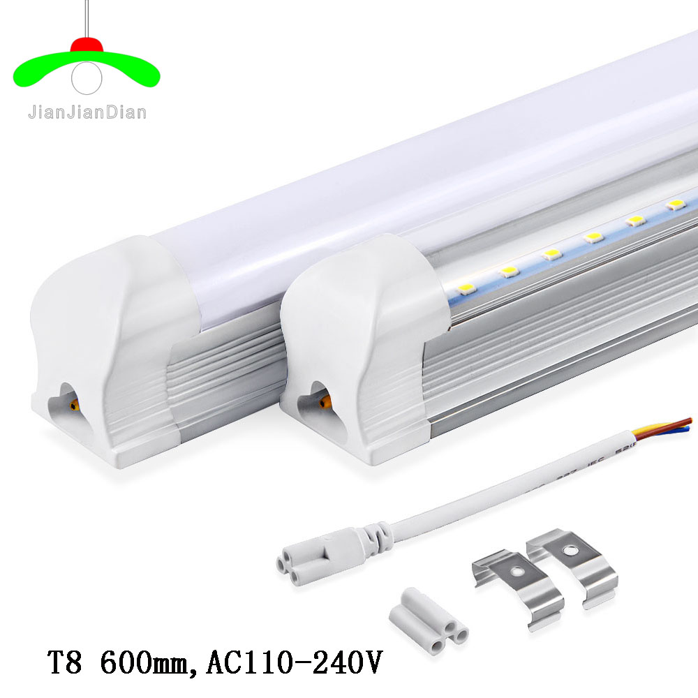 10pcs LED T8 integrated tube 20W 1200mm 15W 900mm 10w 600mm 110-240V Transparent Clear cover milky cover white/warm free shipping hot selling 1m pcs led aluminum profile for led strips with milky or clear cover and end caps clips