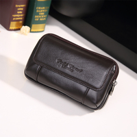 High Quality New Men Genuine Leather Belt Fanny Waist Pack Cell/Mobile Phone Pocket Cigarette/Key Case Designer Purse Money Bag
