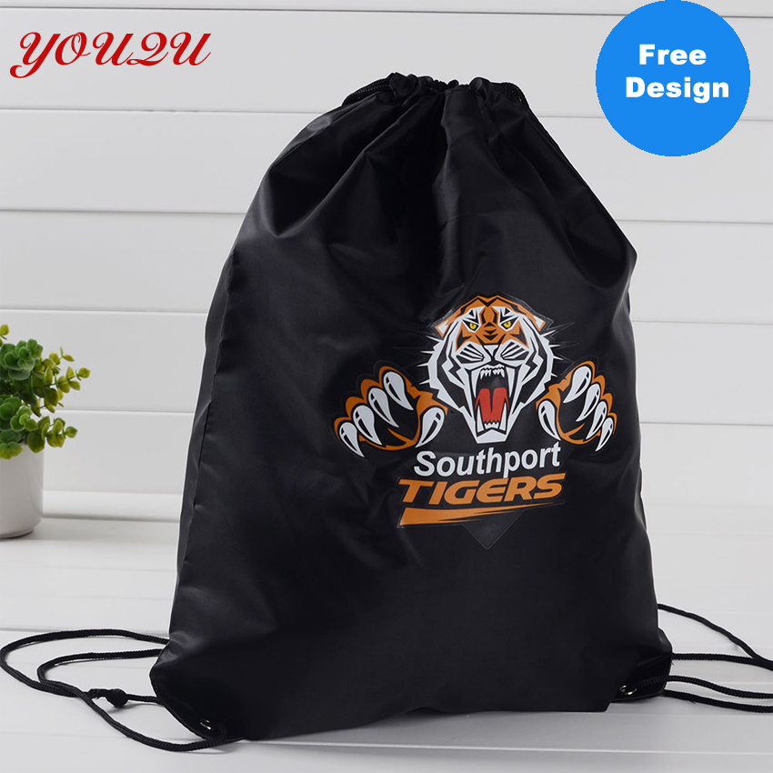 210D polyester drawstring shopping bag with logo printing