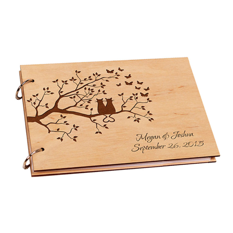 Wedding Guest Book With Tree Love Cats,Personalized Wood Wedding Photo Album Custom Name Wedding Guestbook Rustic Wedding Decor