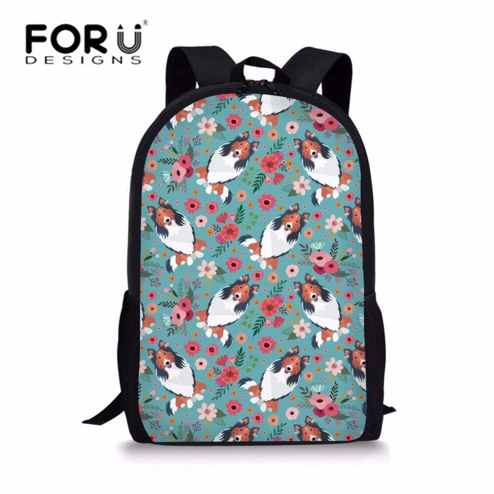 FORUDESIGNS/детей Начальная Школа сумки рюкзаки для девочек-подростков грубые Бордер-колли Печать школьный Средняя школа Bolsa