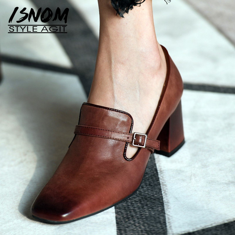 ISNOM High Heels Pumps Women Square Toe Footwear Cow Leather Office Shoes Female Fashion Buckle Shoes