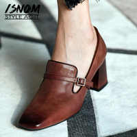 ISNOM High Heels Pumps Women Square Toe Footwear Cow Leather Office Shoes Female Fashion Buckle Shoes Woman Spring 2019 New