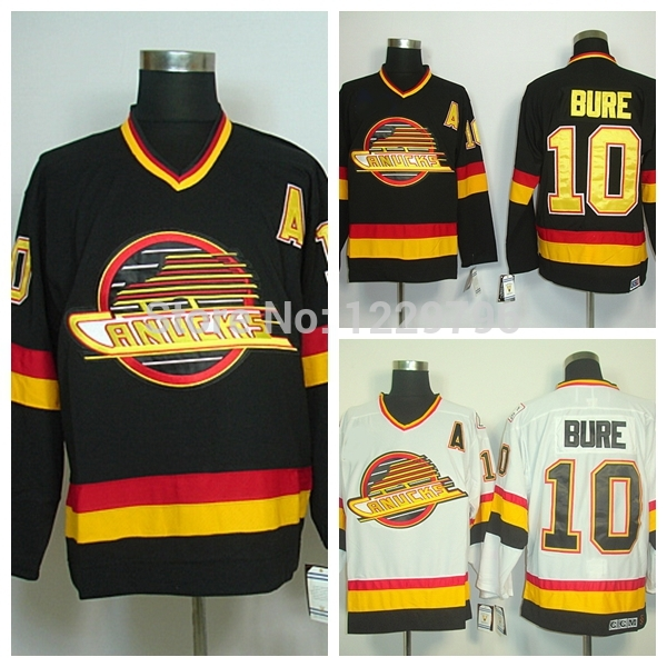 ... free shipping mens vancouver canucks hockey jerseys throwback 10 pavel  bure jersey home black vintage road 4bb7ecba6