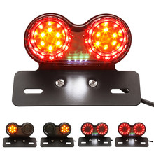 Universal Motor Motorcycle Tail Light Turn Signals Brake Stop Lights Signal Led Lamps License Plate Holder