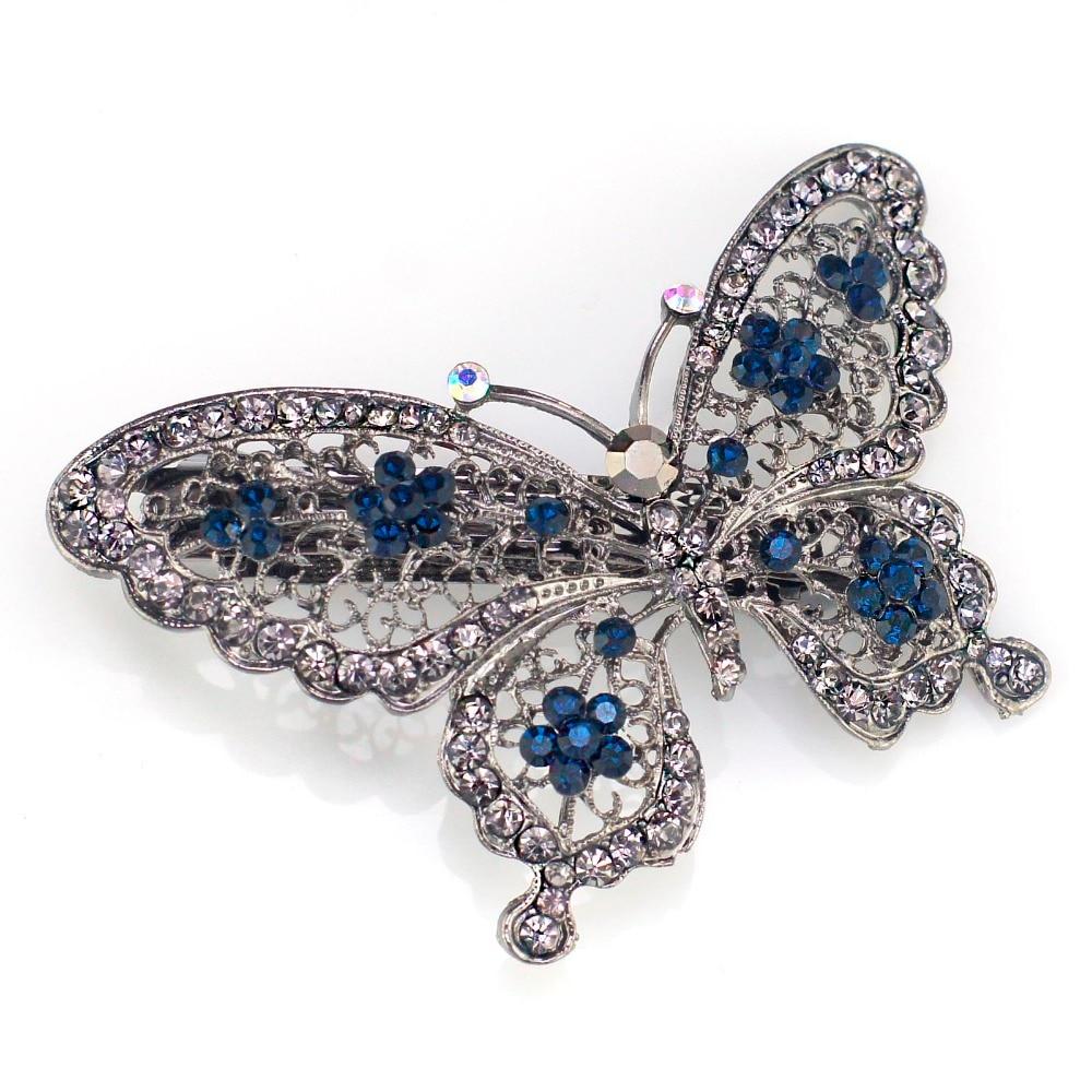 Amazing Butterfly Hairpin Mavi Kristal Baş geyimləri Barrette Saç - Moda zərgərlik - Fotoqrafiya 2