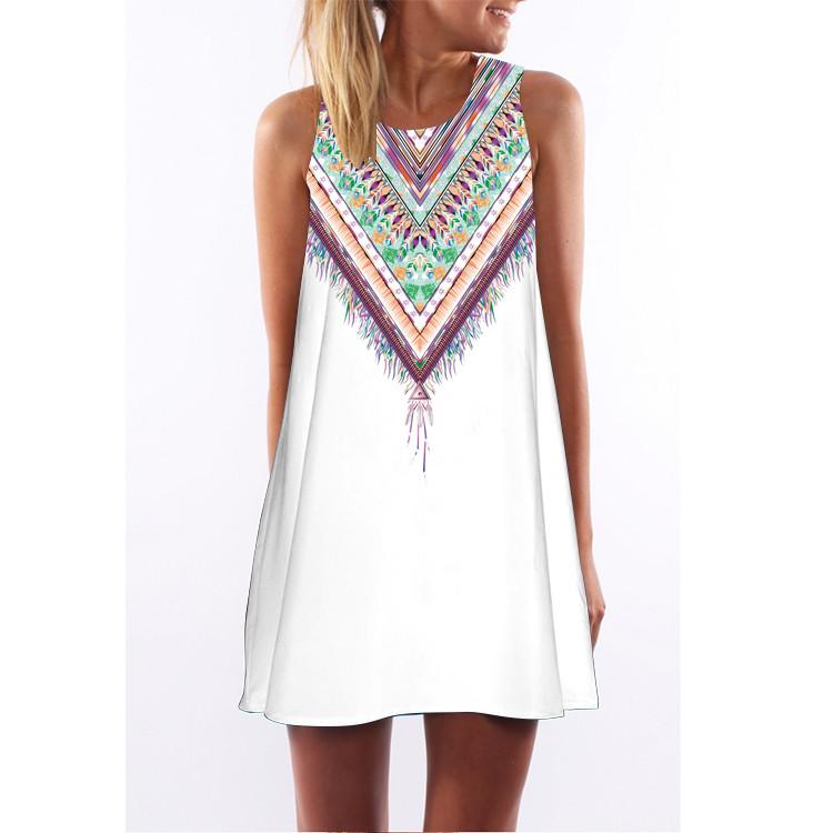 Women Dress 2017 New Style Summer Dress Casual Beach Dress Floral Print Tunic Sleeveless Short Chiffon Dress Vestido de renda 26