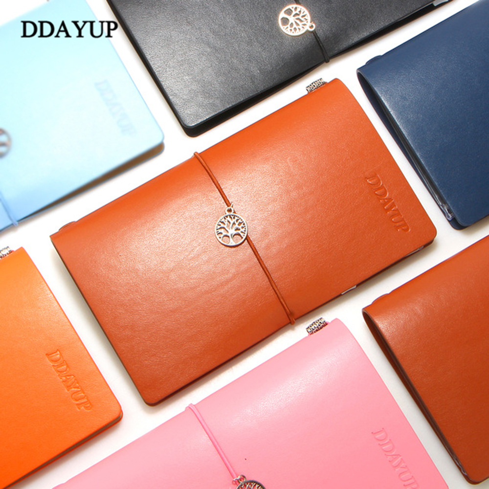 2017 Vintage Faux Leather Creative simple Notebook Diary Agenda Kraft Sketchbook For Travelers & School Stationery Gift Box