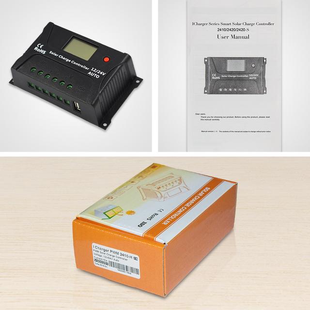 EASUN POWER Solar Charge Controller 10A PWM Solar Charge Controller LCD USB 5V Solar Regulator 12V 24V Voltage Regulator