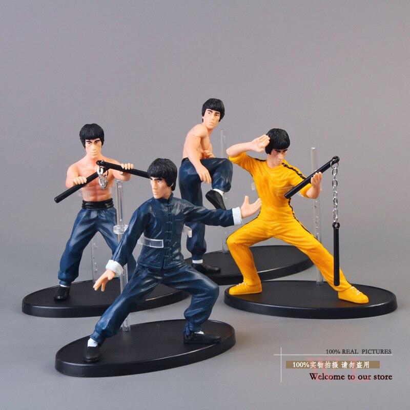 4 pçs/set frete grátis kung fu mestre bruce lee pvc figura de ação coleção brinquedos