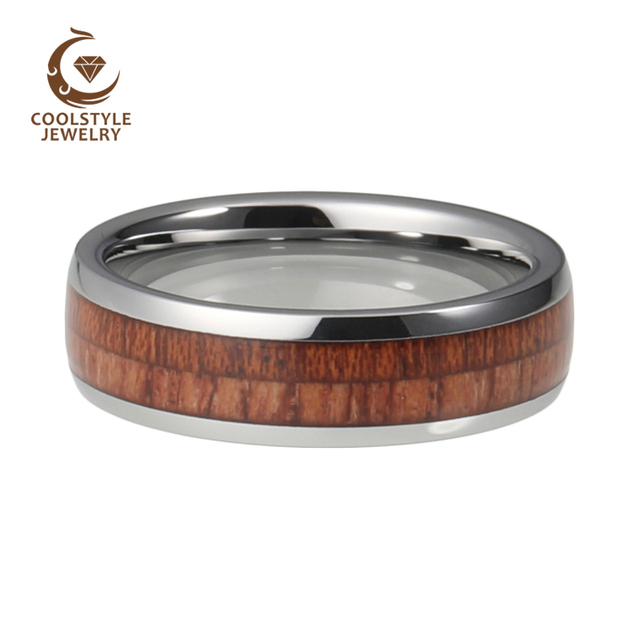 6mm Unisex Tungsten Carbide Ring For Men Women Double Koa Wood Inlay Dome Edges Comfort Fit Wedding Band Size 5-15