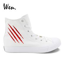 купить Wen White Canvas Casual Shoes Design Scratches Blood Wounds Unisex Sneakers High Top laced Boy Girl Adult Comfort Footwear по цене 1649.29 рублей