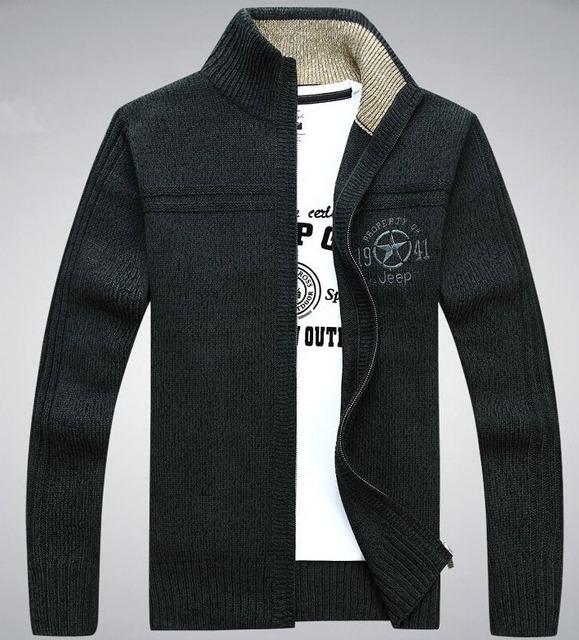 Camisola dos homens de Espessura de Veludo Quente Suéteres de Cashmere Homens Inverno Cardigan zipper Top Dos Homens gola Roupas Casuais Frete Grátis