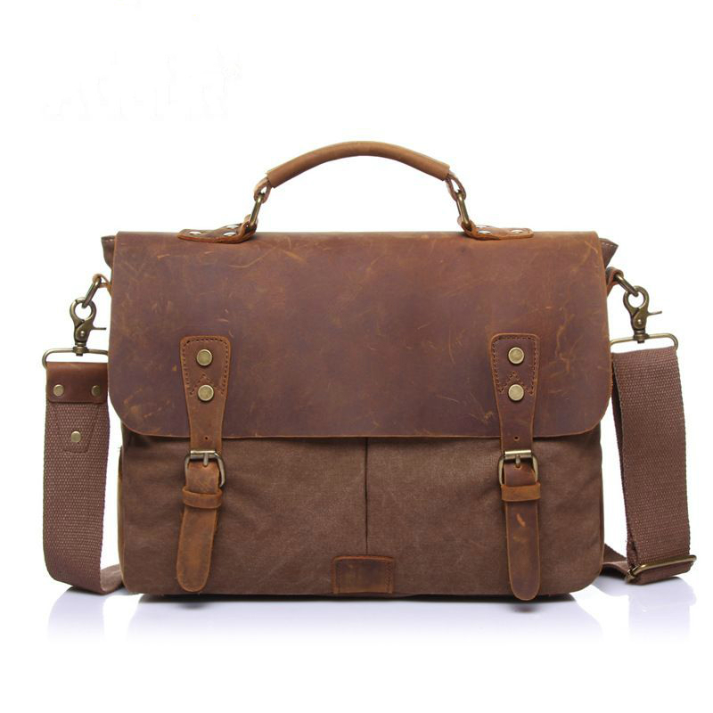 ФОТО 2017 Brand High Quality Men Handbag Fashion Canvas Men Travel Bags Solid Vintage Men Messenger Bags Laptop Men Briefcase a2173