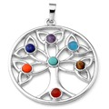 "Silver Plated Natural Stone 7 Beads Chakra Healing Point Pendant Fit Necklace ""The Tree Of Growth"""