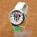Cartoon Beautiful girl Minnie mouse style Color number dial children students girl's leather quartz watch