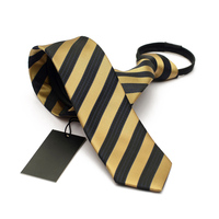 Fashion Zipper Ties For Men Wedding Mariage Jacquard Tie High Quality Business Tie Gold Striped 6cm Narrow Arrow with Gift Box