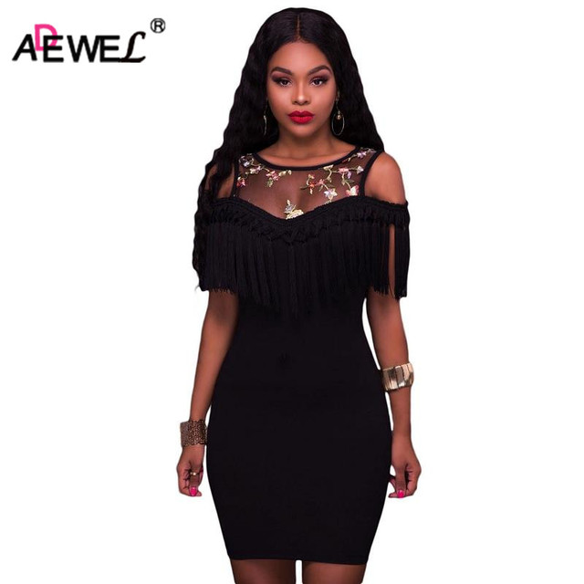 e3c0b6458f47c ADEWEL 2017 Sexy Cold Shoulder Tassels Women Mini Sheath Dress Patchwork Floral  Mesh Bodycon Pencil Dress Club Party Wear