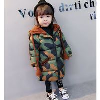 1 5 year old girl winter coat New winter camouflage coat for 2017 Winter long winter jacket