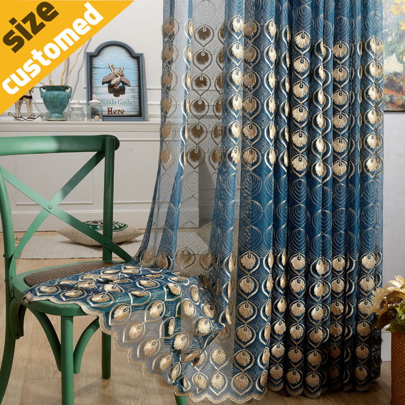 Buy 3d Peacock Feather Volie Curtain 100 Polyester Fabric For Living Room Home