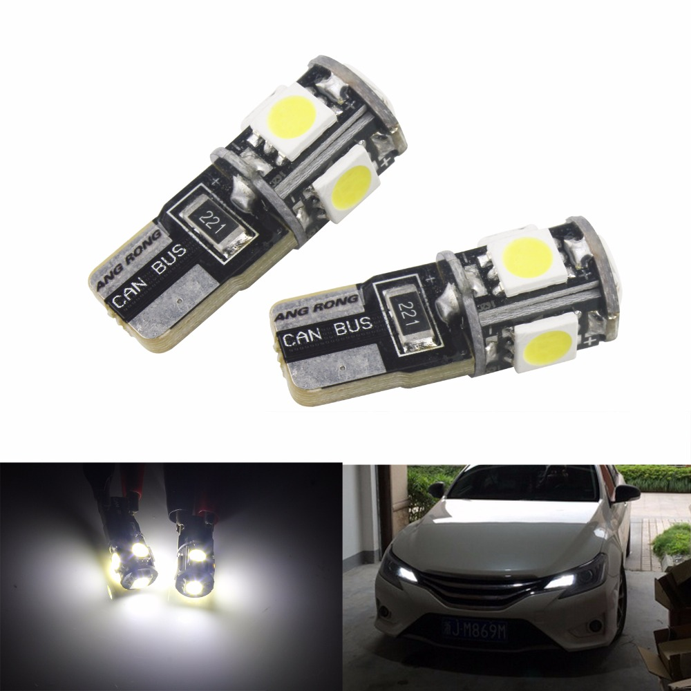 ANGRONG 2pcs/lot Canbus Car LED SMD Light Canbus T10 W5W 194 5 5050 Bulb Light NO OBC Error White (CA005X2)
