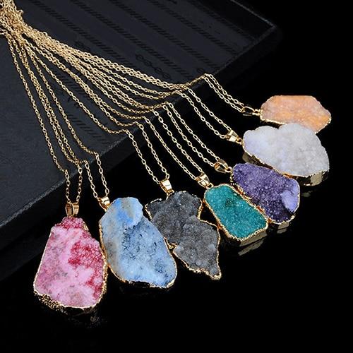 New Crystal Quartz Healing Point Chakra Natural Gem Stone Bead Pendant Necklace