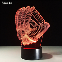 Baseball Glove 7 Color Lamps 3d Visual Led Night Lights For Kid Touch USB Bluetooth Music