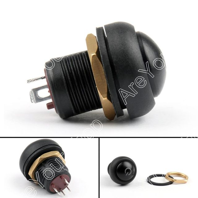 Areyourshop Push Button Switch 12mm ON/OFF Self-Locking Industrial Grade Waterproof 5A 250VAC / 8A 1