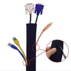 Image 5 - 125cm neoprenowy rękaw do zarządzania kablami owinąć drut Hider Organizer do telefonu TV