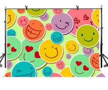 150x220cm Smile Stickers Backdrop Assorted Happy Photography Background for Camera Photo Props