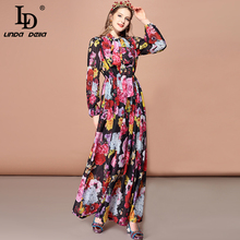 LD LINDA DELLA Autumn Fashion Runway Long Sleeve Maxi Dress Women's Vintage Floral Print Elegant Plus Size Long Dress ld linda della fashion runway long sleeve maxi dresses women s elegant party rose floral leopard print long dress holiday dress