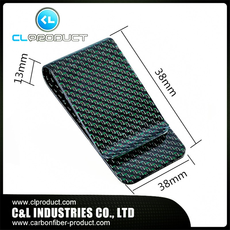 Carbon fiber money clip Green (2)